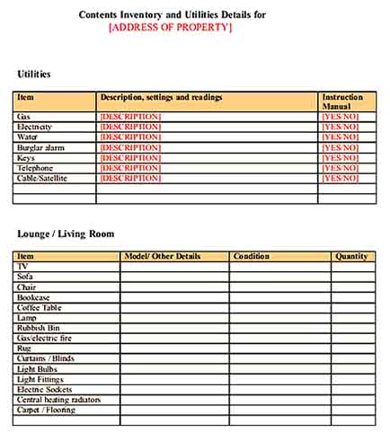 Inventory For A Rented Property Templates Sample
