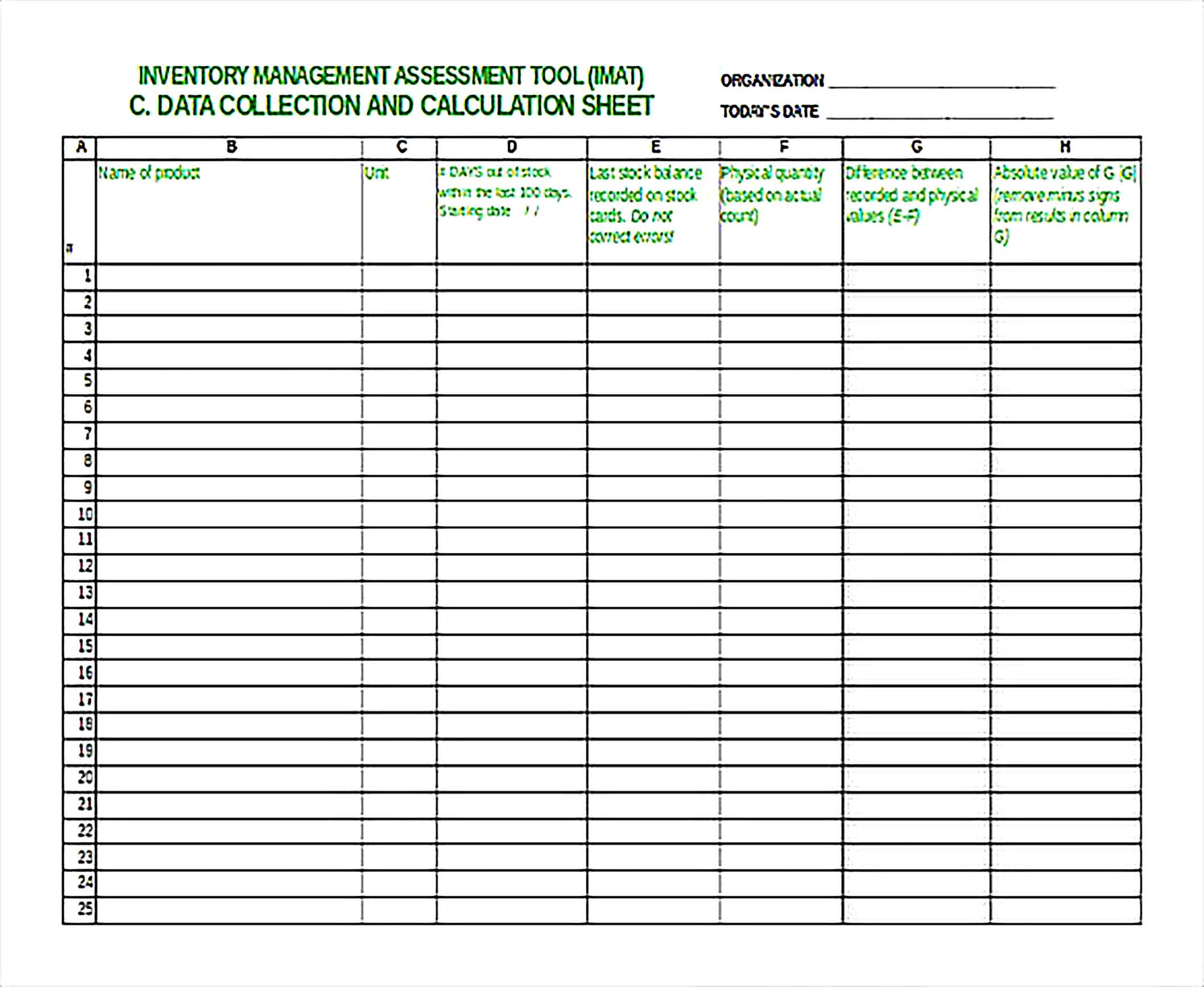Inventory Management Assessment Tool Free Excel Sheet1