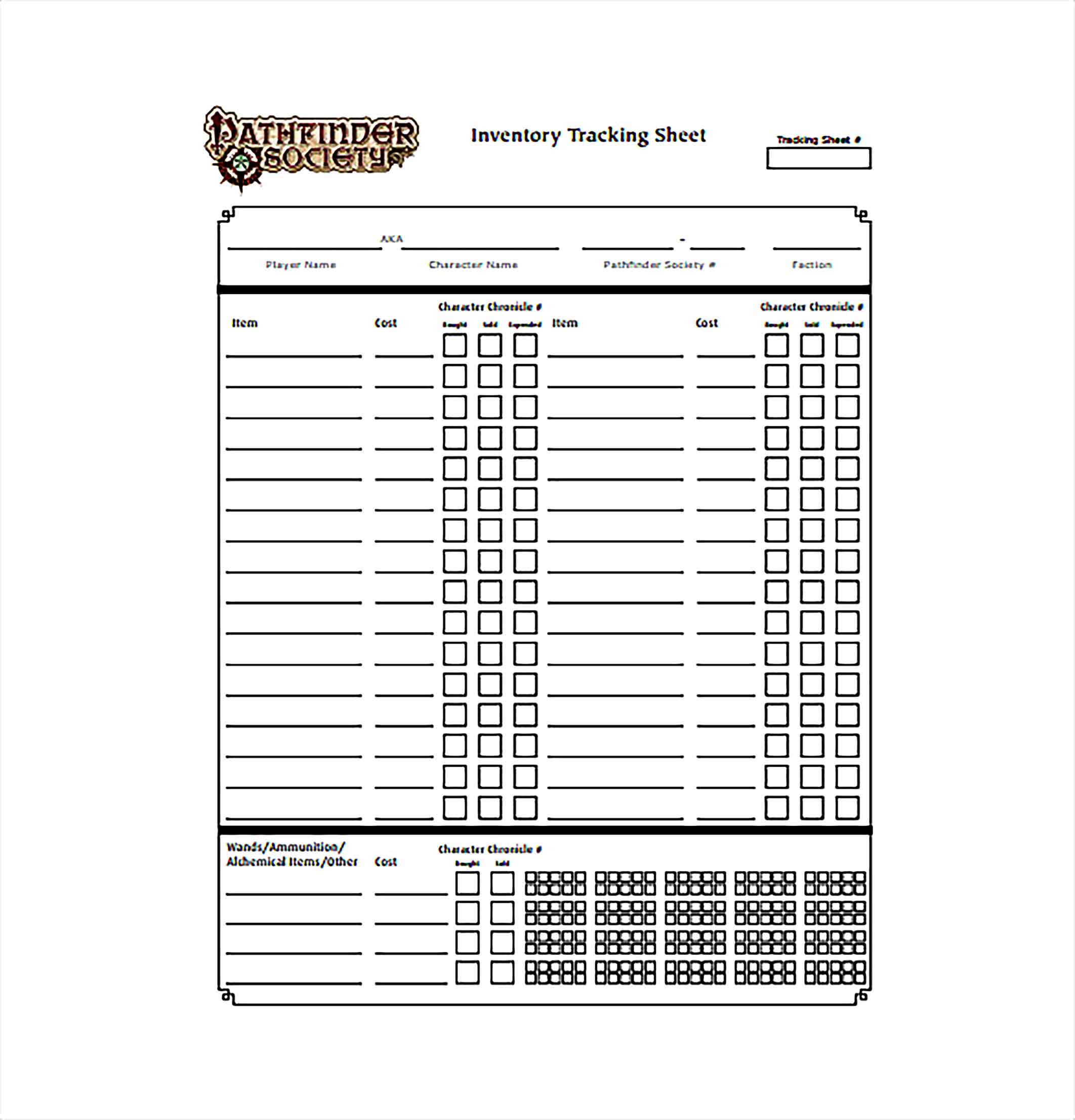 Inventory Tracking Spreadsheet PDF Template Free Download