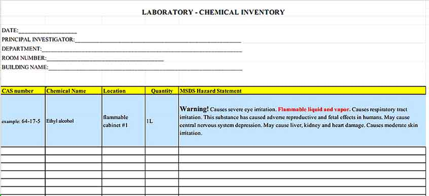 Laboratory Chemical Inventory Template 1