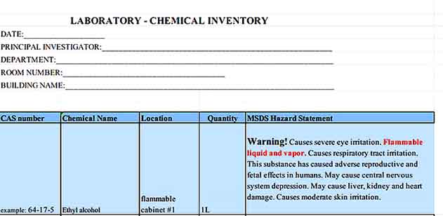 Laboratory Chemical Inventory Template