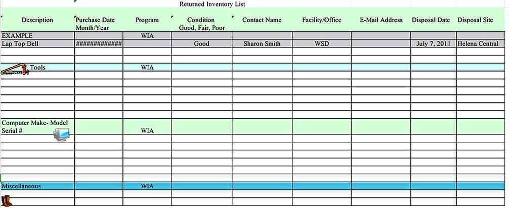 Master Tool Inventory List Download Templates Sample