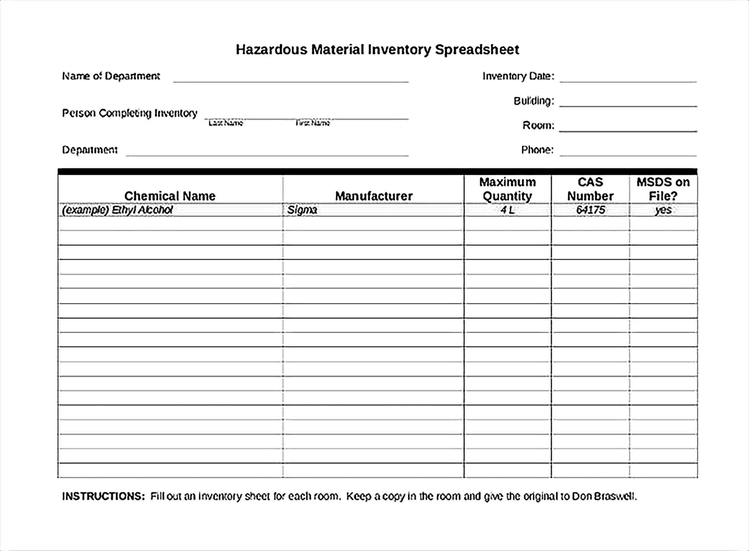 Material Inventory Spreadsheet