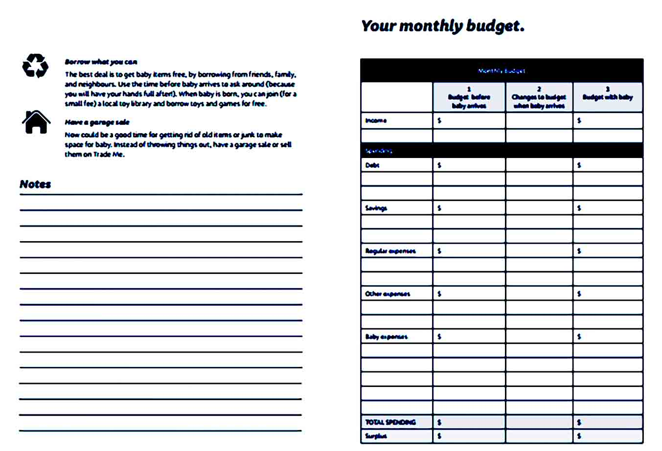 Monthly Baby Budget