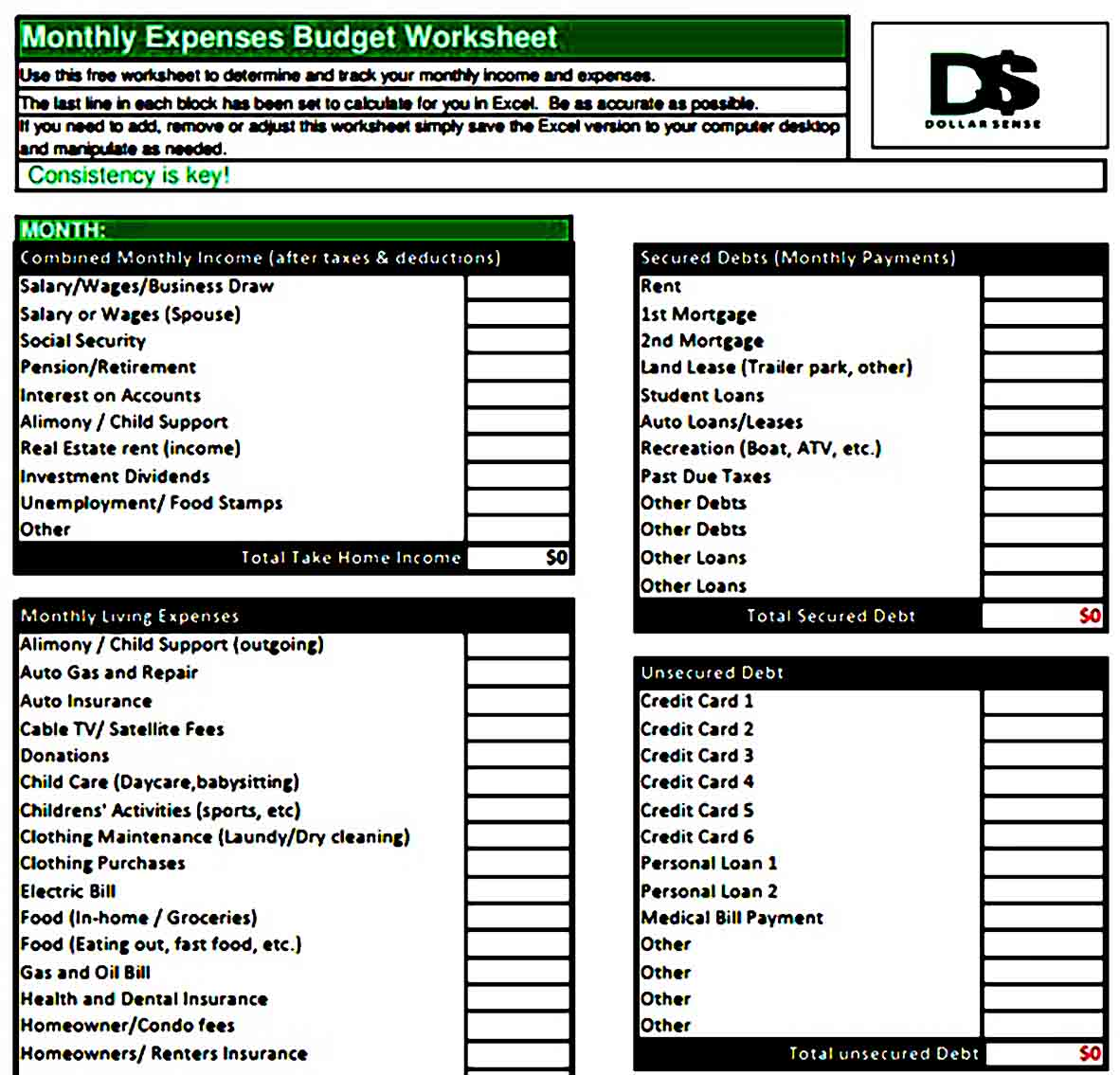 Monthly Expenses Budget Worksheet