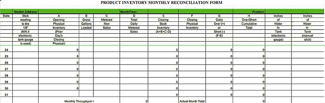 Monthly Product Inventory Template