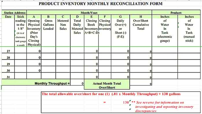 Monthly Product Inventory Templates Sample