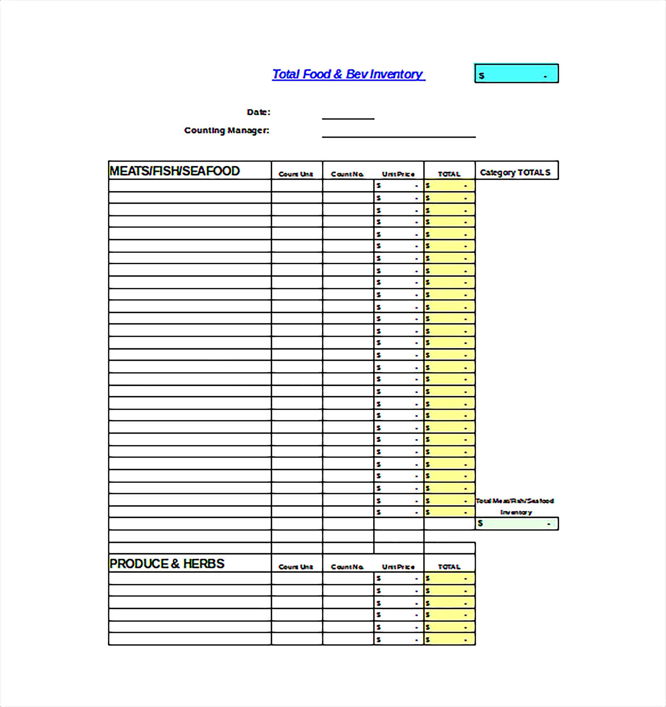 Monthly QSR Inventory Spreadsheet Excel Template Free DOwnload