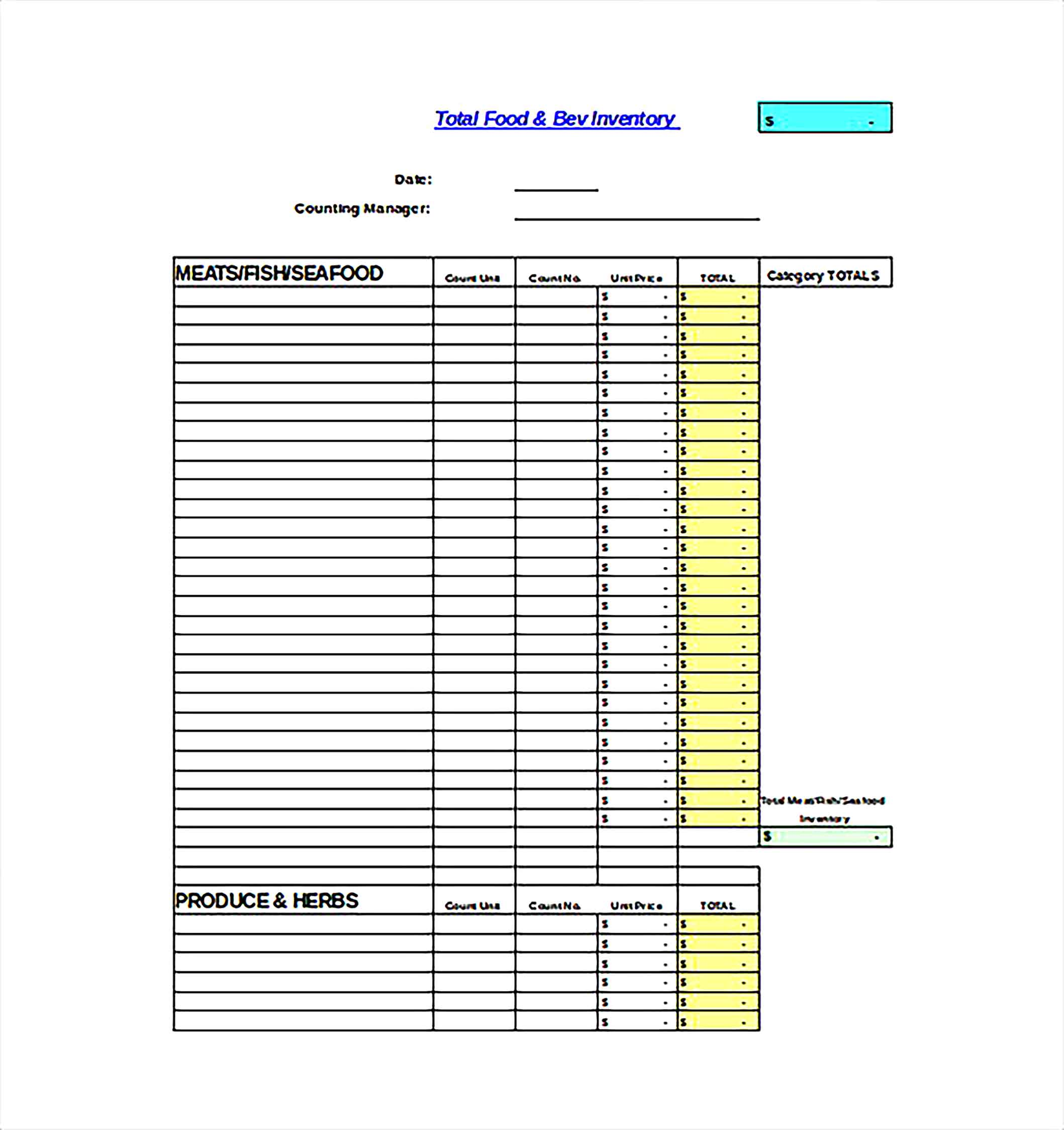 Monthly QSR Inventory Spreadsheet Excel Template Free DOwnload 1