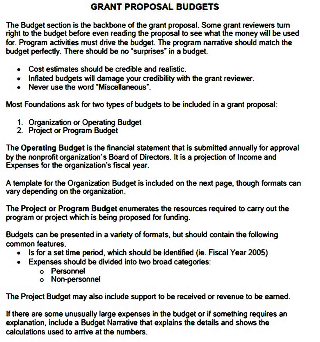 Nonprofit Program Budget Template