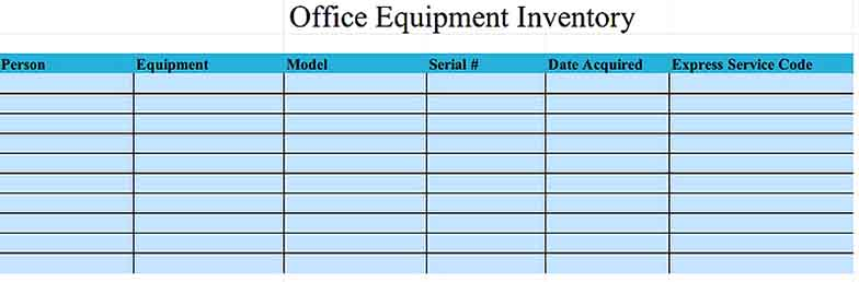Office Equipment Inventory Template Excel Download