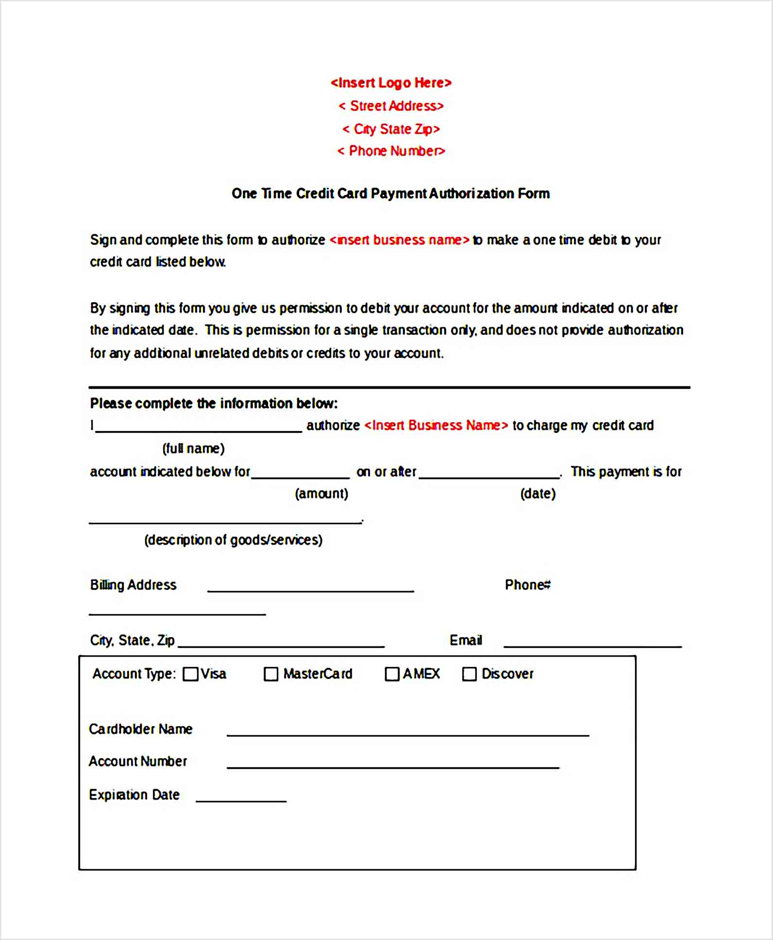 One Time Credit Card Payment Authorization Form Template