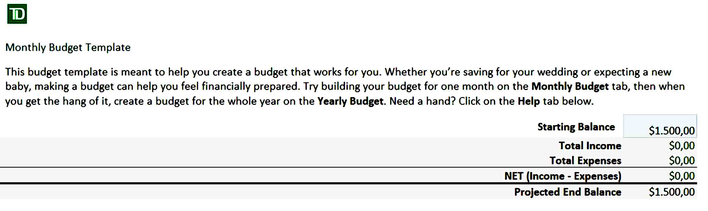 Partners Monthly Budget Template