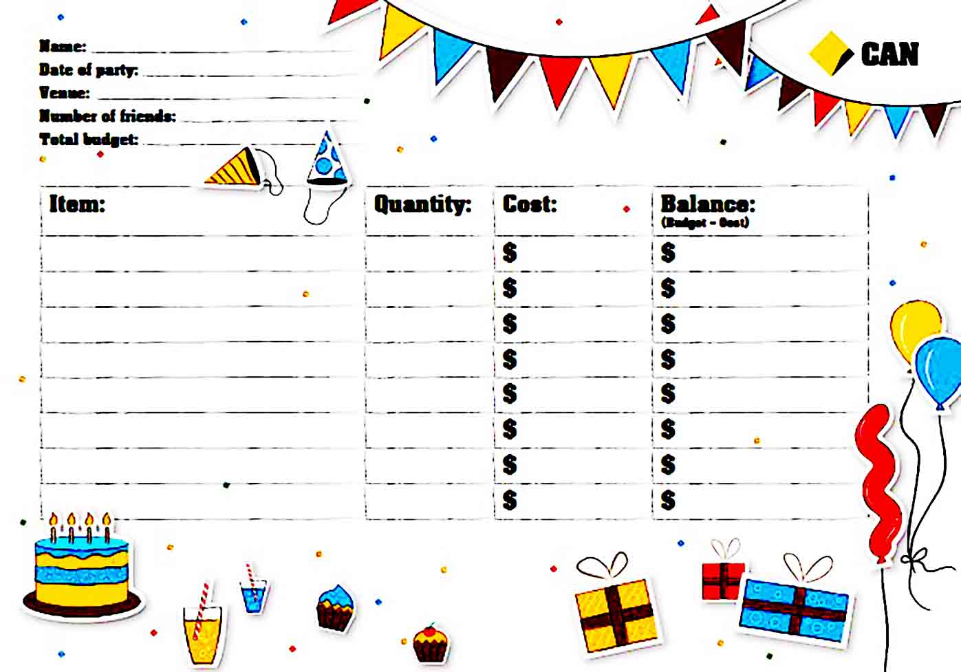 Party Planner Budget Template