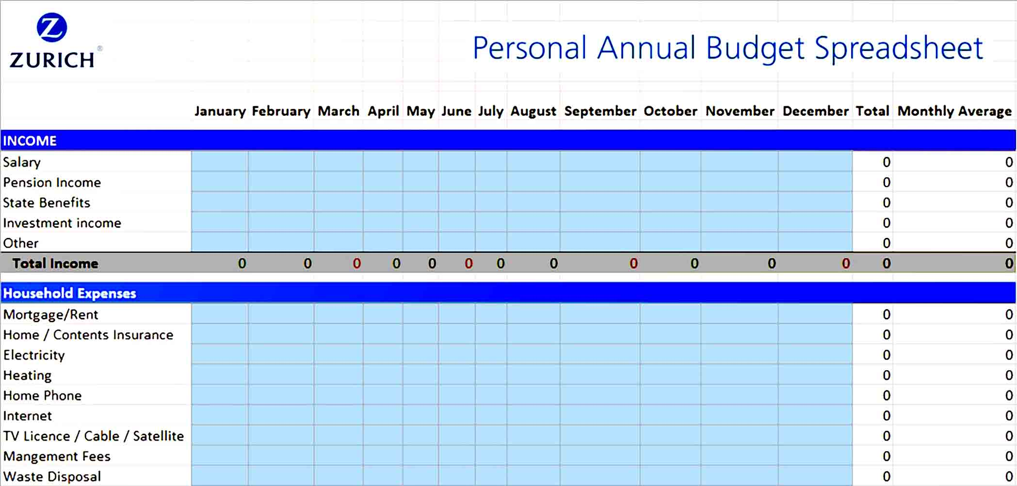 Personal Annual Budget Spreadsheet