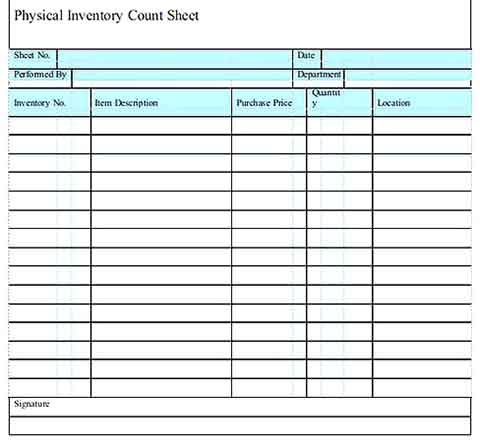 Printable Physical Inventory Count Sheet Templates Sample