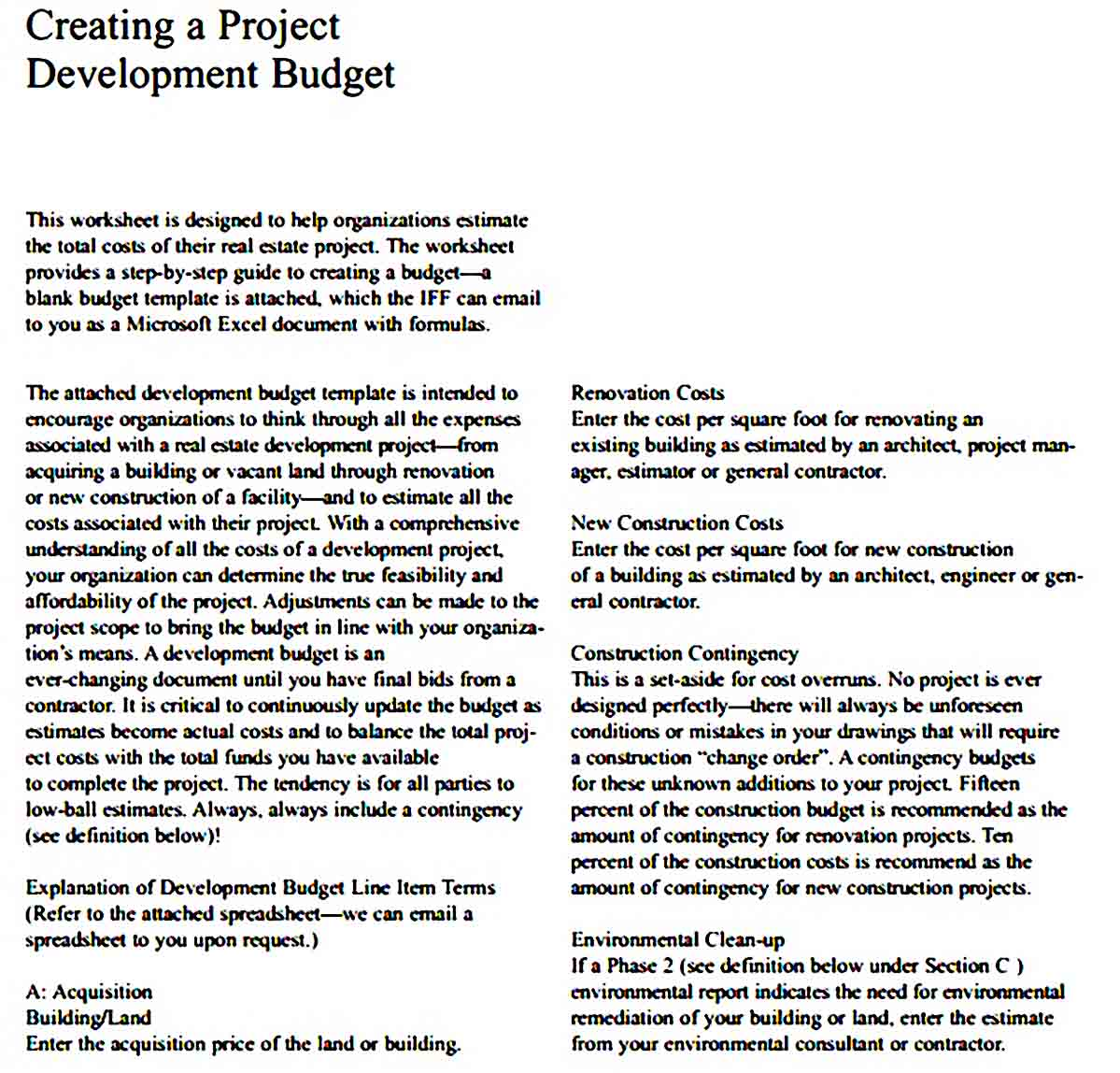 Program Development Budget Template