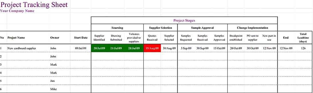 Project Tracking Inventory Sheet Download Templates Sample