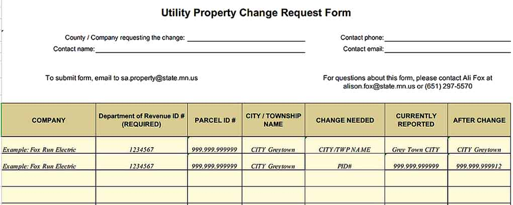 Property Record Change Request Inventory Sample Example Templates Sample