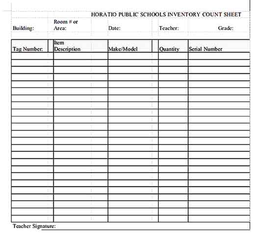 Public School Inventory Count Sheet Templates Sample