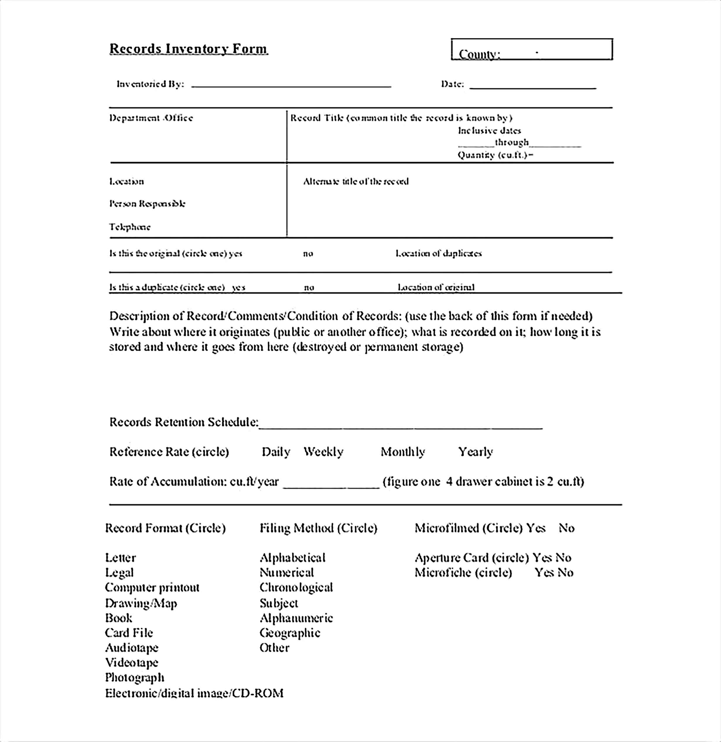 Records Inventory Form Sample