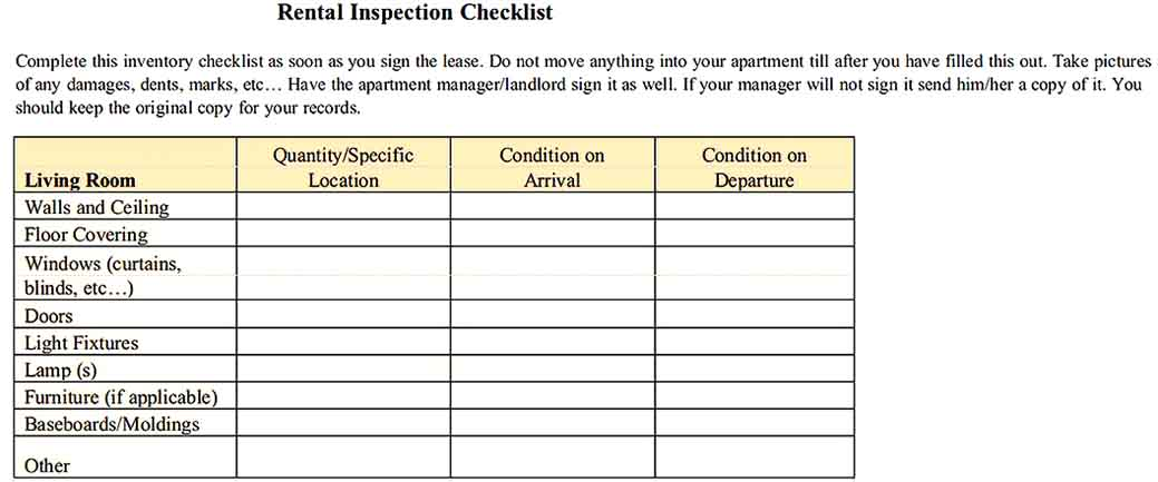 Rental Inspection Inventory Checklist Example Templates Sample