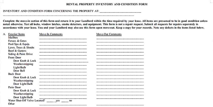 Rental Property Condition Inventory Documentation Download Templates Sample