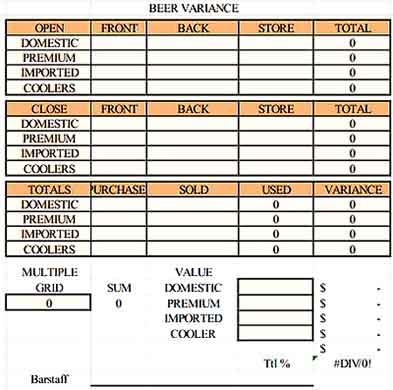 Restaurant Beer Variance Inventory spreadsheet Templates Sample
