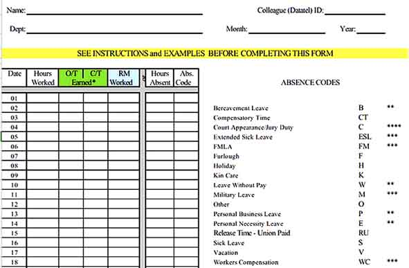 Sample College Attendance Inventory Report 1 Templates Sample