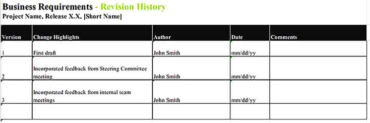Sample Contents Requirement Inventory Template