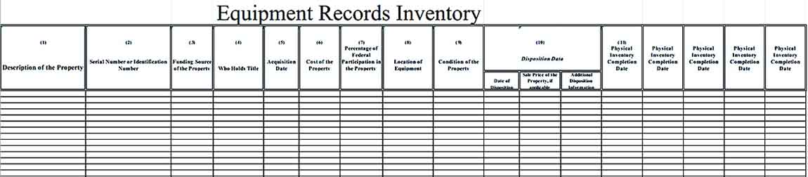 Sample Template For Equipment Records Inventory