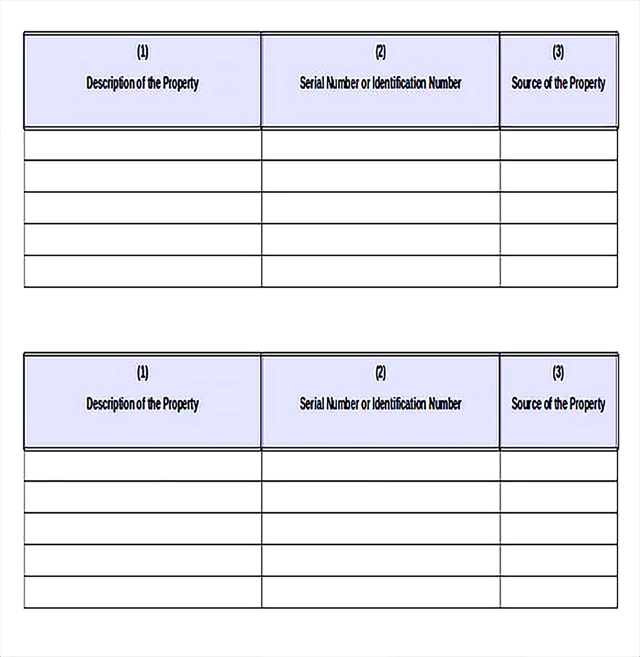 Sample Template For Property Inventory Record