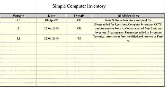Simple Computer Inventory Template
