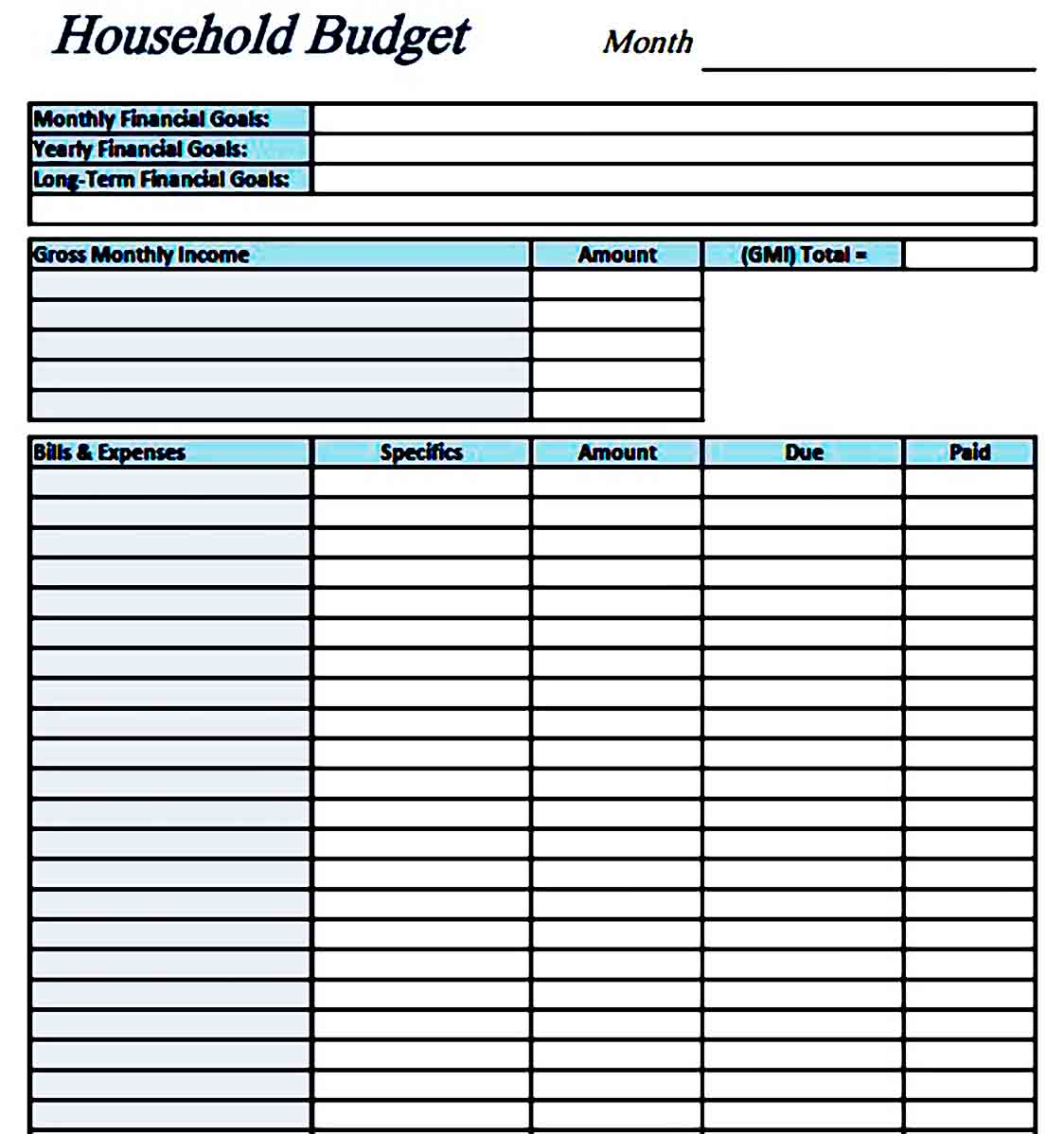 Simple Household Budget Template