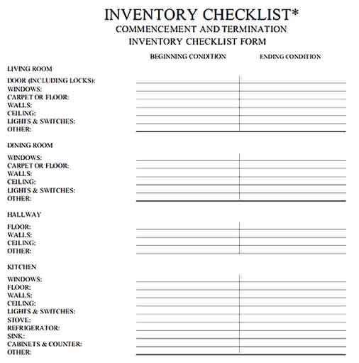 Simple to Tenant Property Inventory Templates Sample