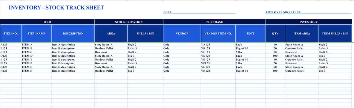 Small Business Inventory List 2 Templates Sample