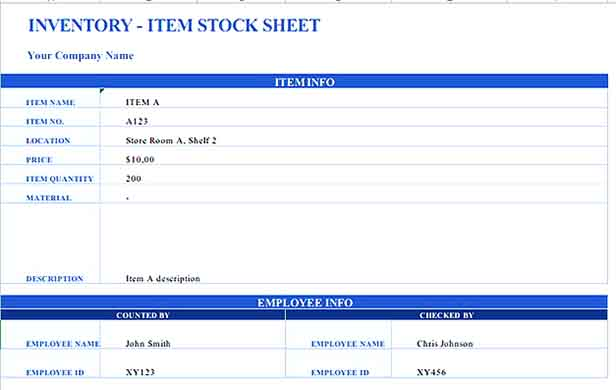 Small Business Inventory List 3 Templates Sample