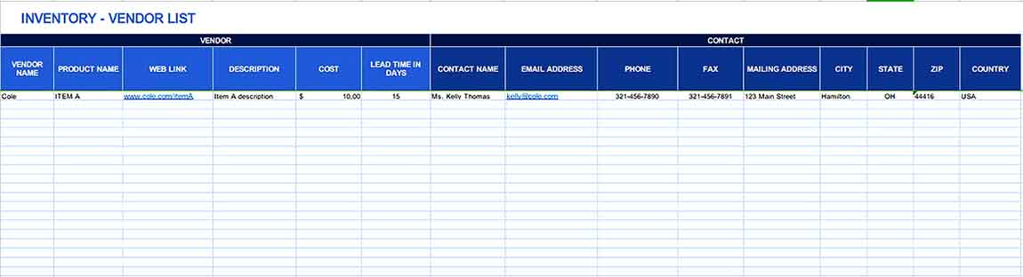 Small Business Inventory List 4 Templates Sample