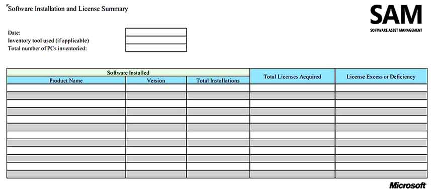 Software License Inventory Templates Sample