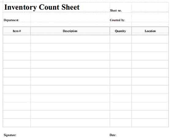 Stock Inventory Count Sheet Templates Sample