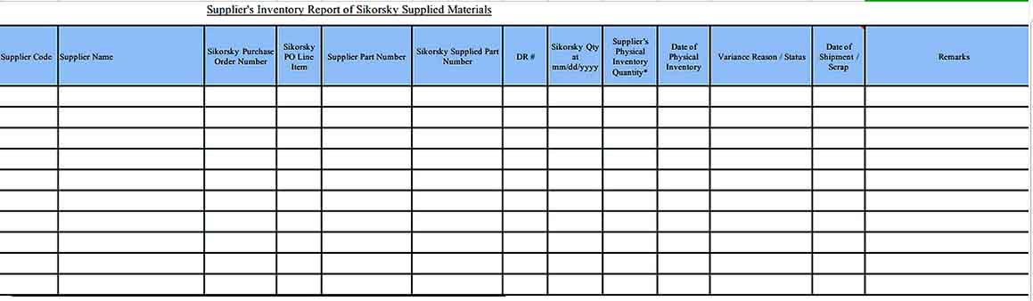Supplier Inventory Report In Excel Templates Sample 1