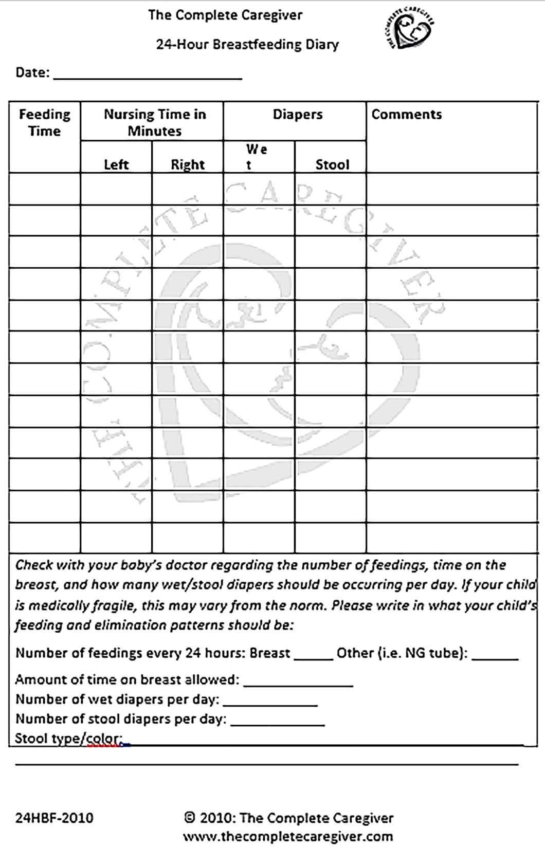 Template 24 Hour Breastfeeding Diary Schedule Sample