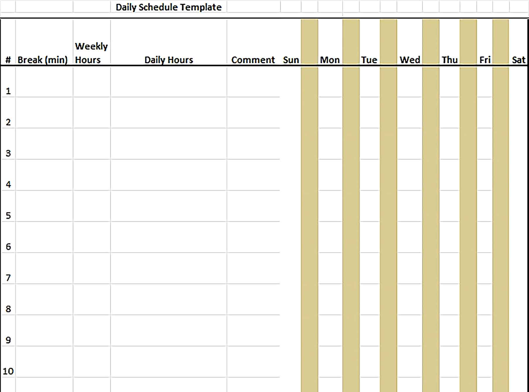 Template 7 Day Schedule in Excel Format Sample
