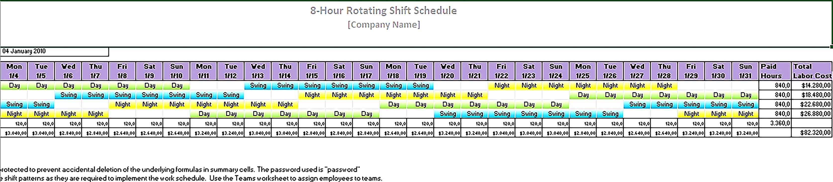 Template 8 Hour rotating shift schedule1 Sample