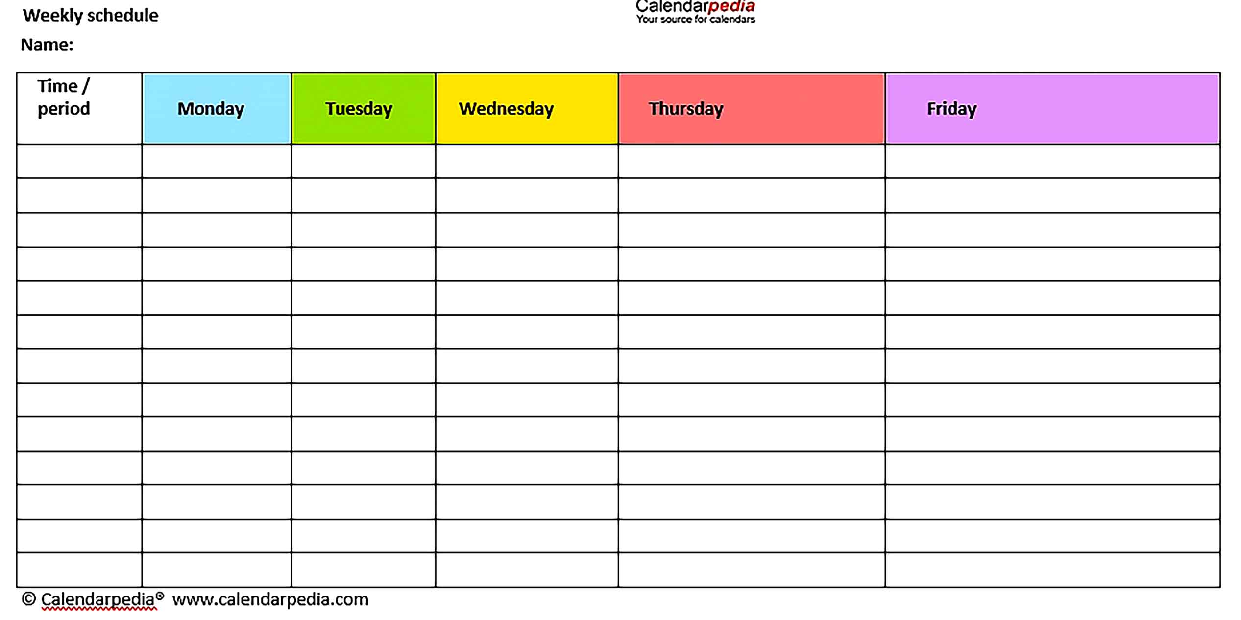 Template Blank Weekly Workout Schedule Sample