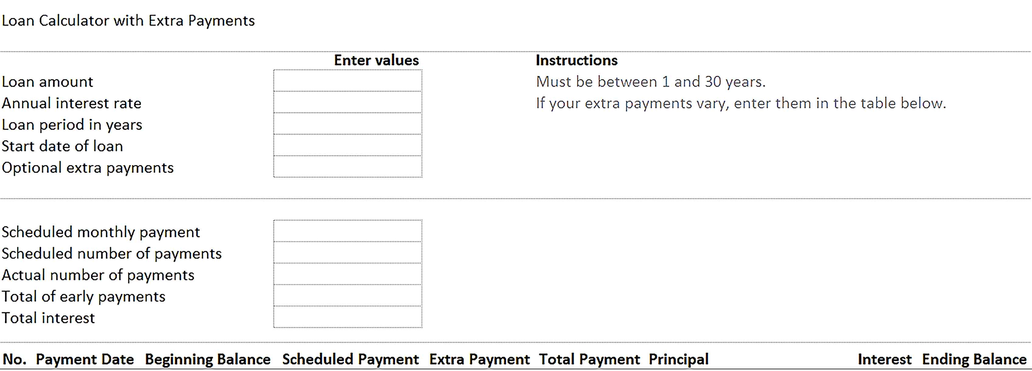 Template Car Loan Amortization Schedule with Extra Payments Sample