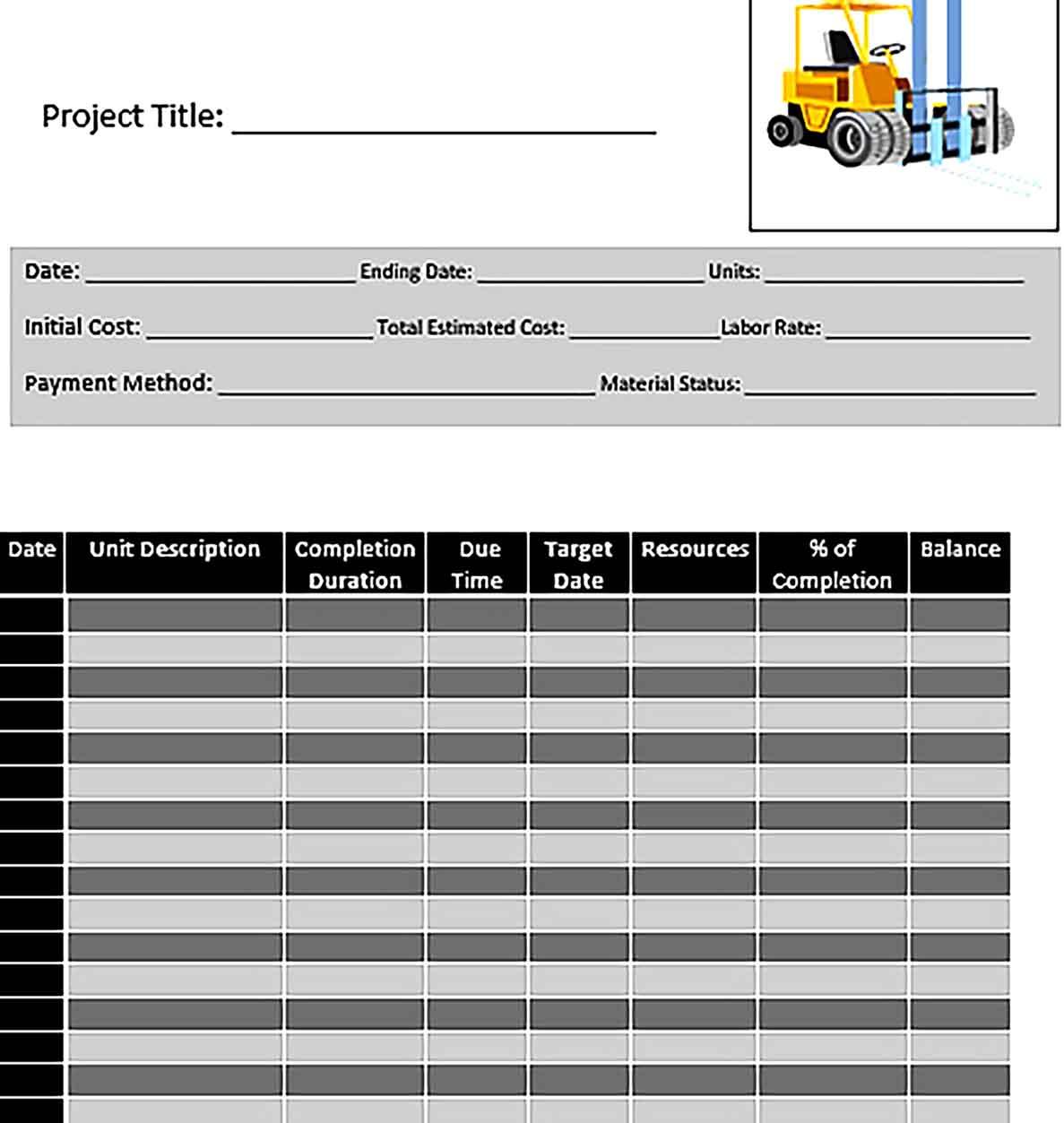 Template Construction Project Work Schedule Sample