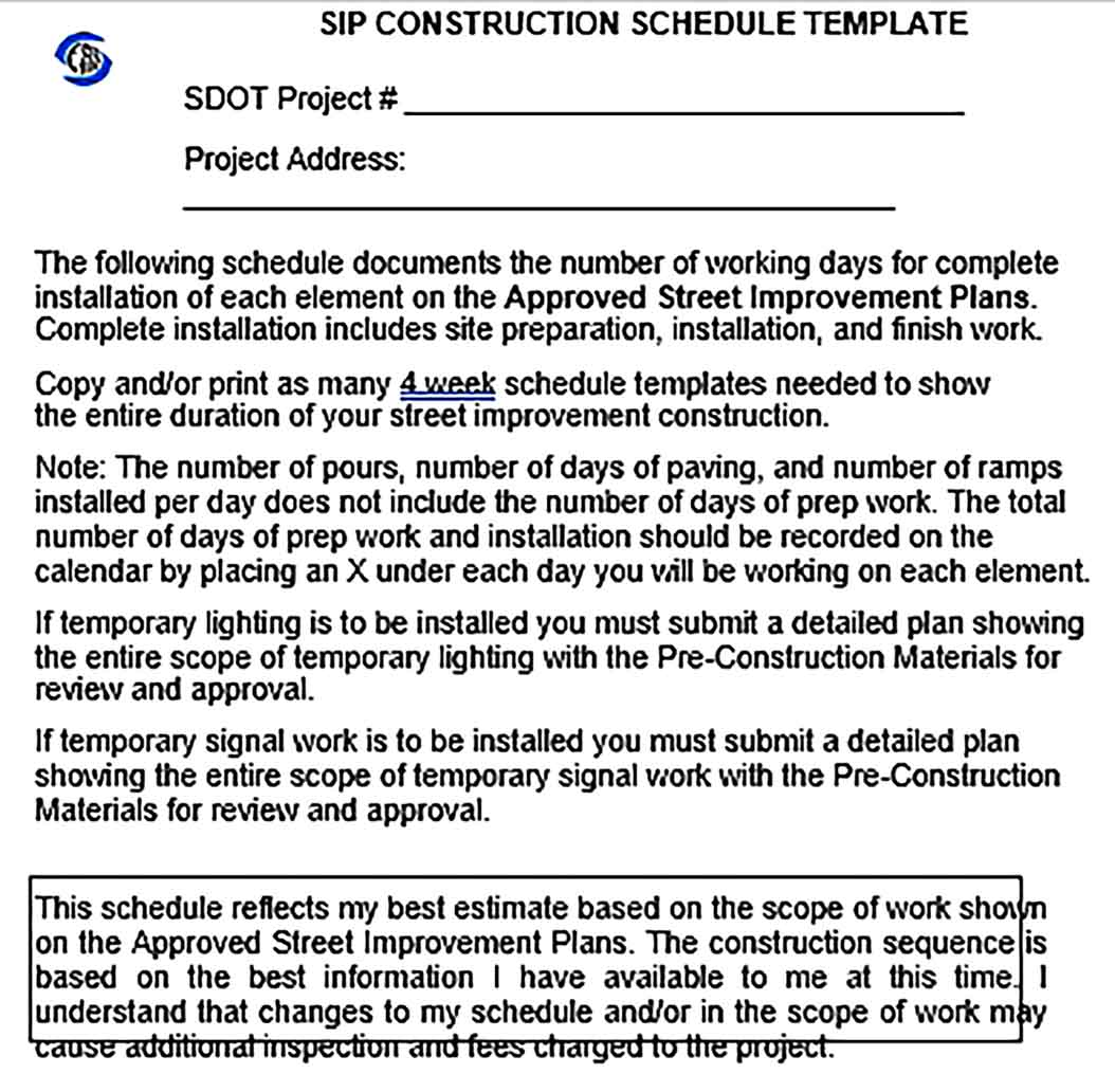 Template Construction Schedule Sample