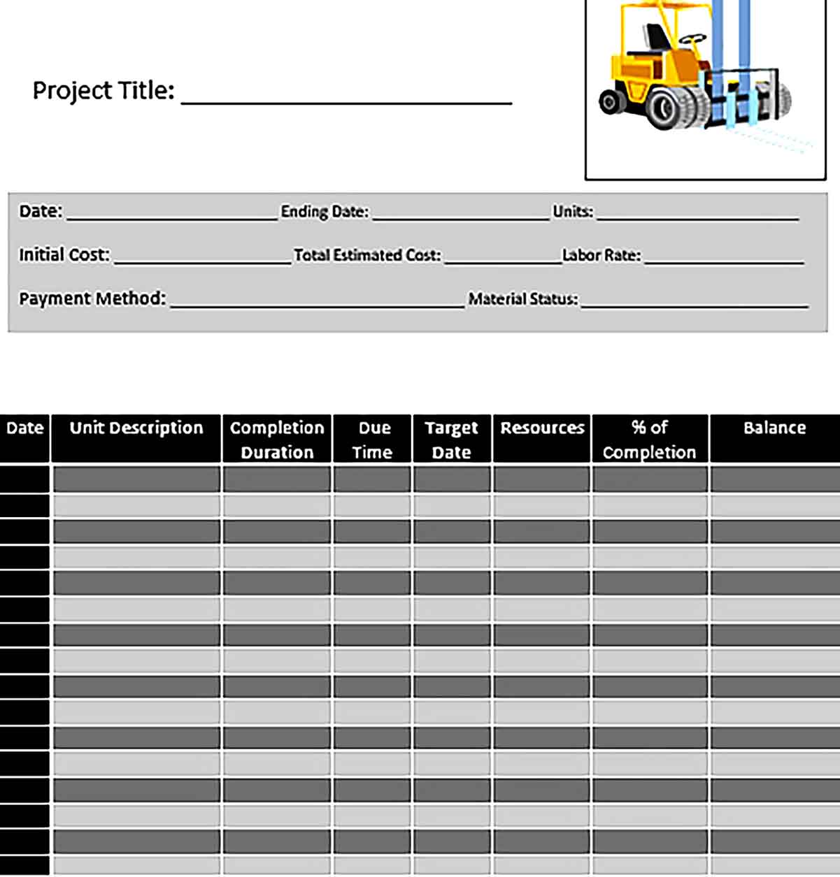 Template Editable Construction Activity Schedule Word Doc Sample
