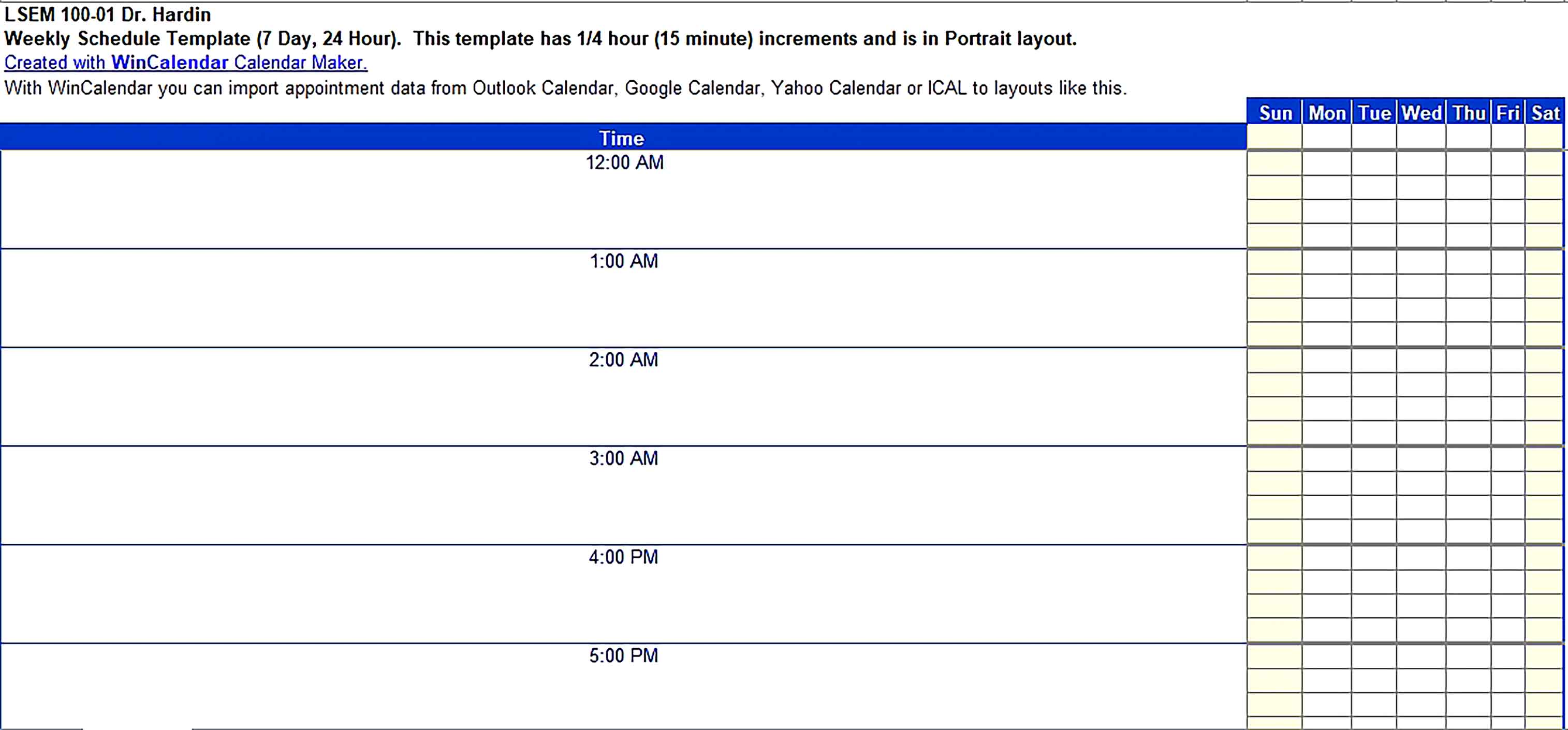 Template Excel 24 Hour Schedule Sample